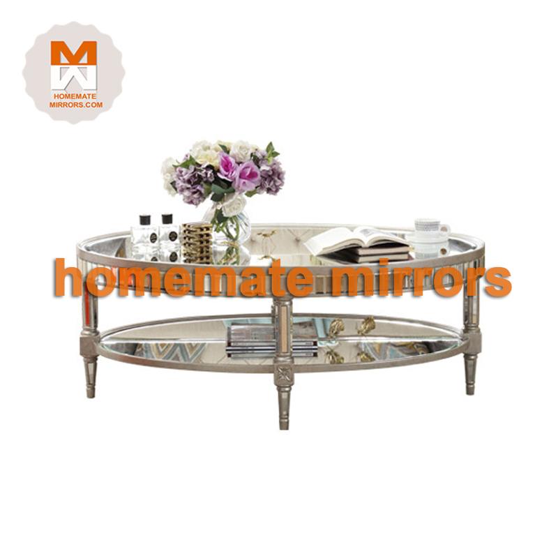 Mirrored Coffee Table Round Antique Handmade