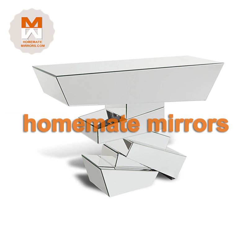 Mirrored Console Table Half Moon Shape Glass