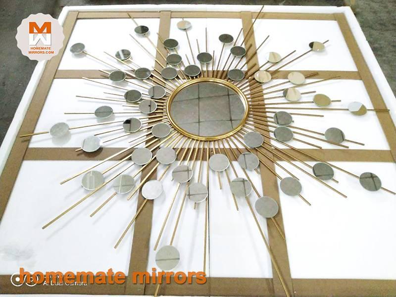 Gold Metal Wall Mirror: Gold Sunburst Wall Mirror- Metal Gold Foiled Wall Mirror