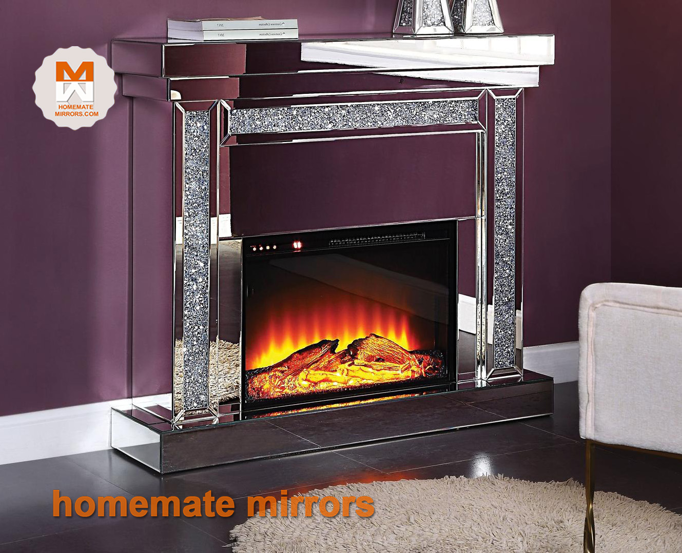 Crushed Crystal Mirrored Fireplace Manufacturer